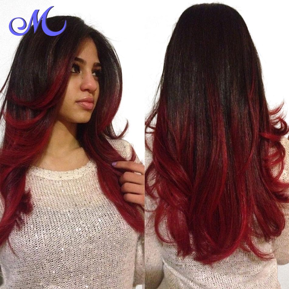Hot queen hair brazilian body wave ombre black and burgundy brazilian hair 2 tone brazilian - Ombre hair marron ...