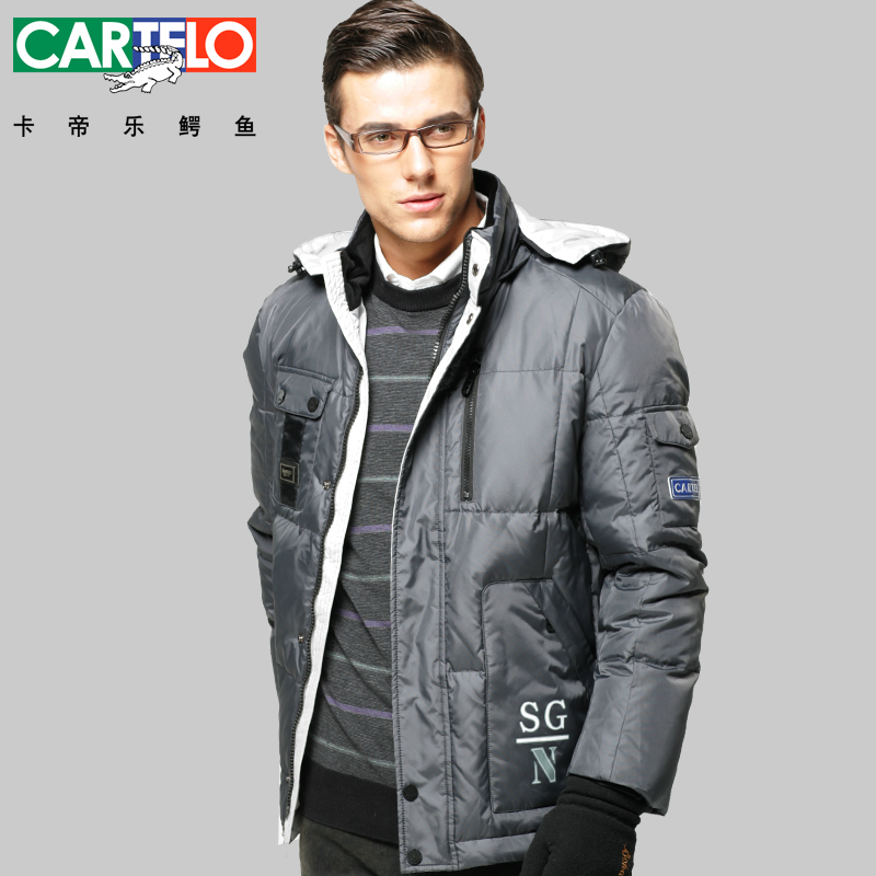 CARTELO/Brand 90% Duck Men's Casual Down Jacket Winter Hooded Collar Hit Color Business Jackets Thick Coat(China (Mainland))