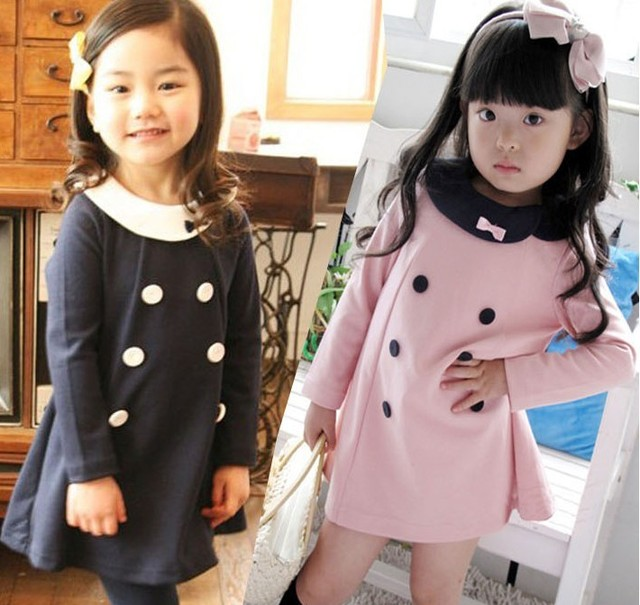 Free shipping Child set double breasted one-piece dress doll turn-down collar set girls spring and autumn