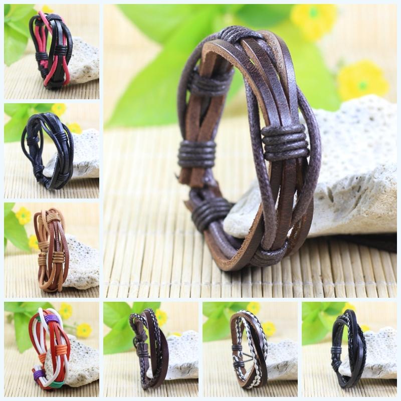 Handmade wrap genuine real leather bracelet men 2015 & friendship bangles women bileklik Pulseira De Couro Masculina femme - SunFlower Trade Co.,Ltd store