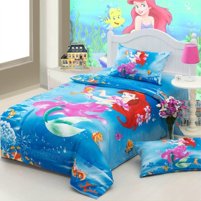 The Little Mermaid Blue Girls Cartoon Bedding Comforter