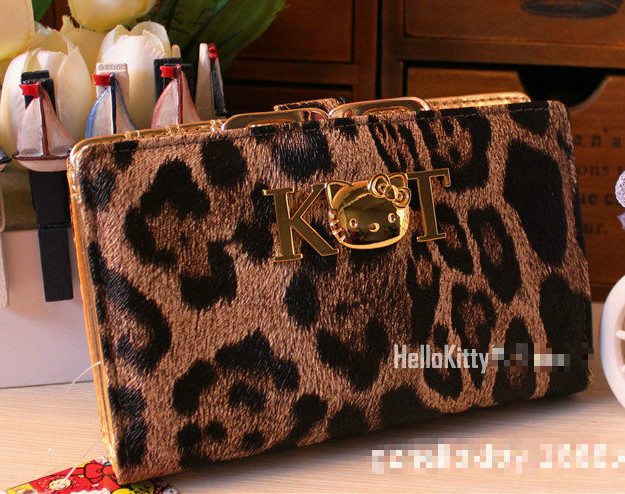 Free Shipping Hello Kitty Wallet Leopard Women Purse PU Leather Cluth M(China (Mainland))