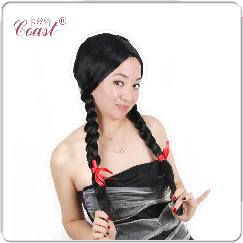 26 Womens Wig Cosplay Black  Braided Braids School Girl Wig Synthetic Wigs Costume Accessory Free Shipping<br><br>Aliexpress