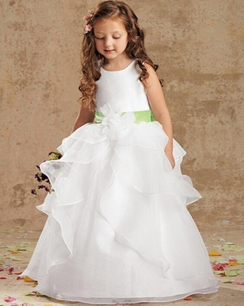 White A Line Flowergirls Flower Girl Dresses for Weddings First Communion Dresses for Girls Gowns