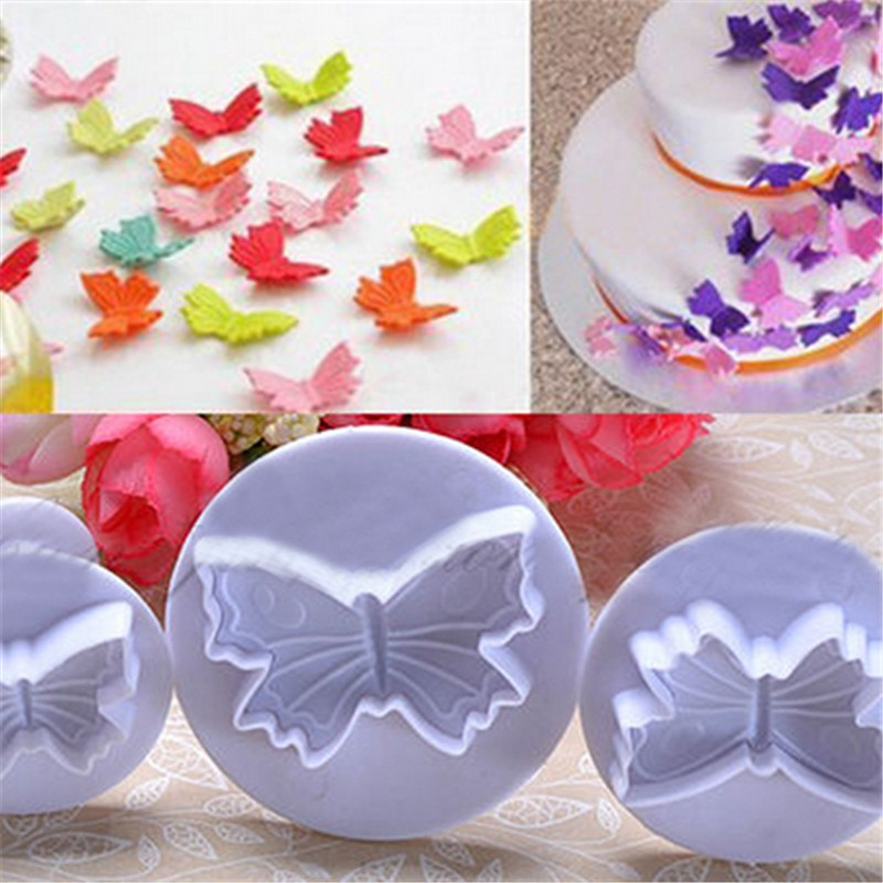 3Pcs/Set Beatifull Butterfly Shape Fondant Cookie Cake Moullds Cooking Tools Specialized Baking Molds With Spring,Wedding Party(China (Mainland))