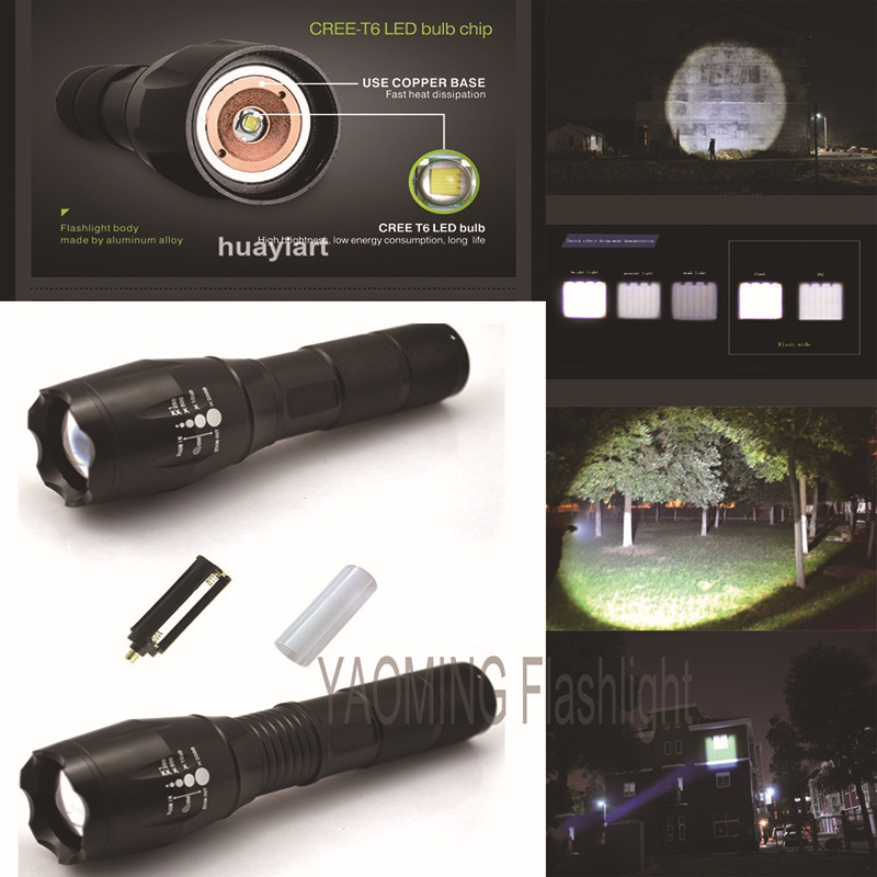 3800 lumen CREE XM-L T6 Focus Adjustable Rechargeable led flashlight torch lamp Outdoor camping lanterna by 18650 or 3 x AAA(China (Mainland))