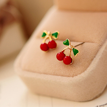 2 pcs Chic Cute Korea Women Little Cherry Ear Studs Girls Lady Red Earrings Jewelry(China (Mainland))