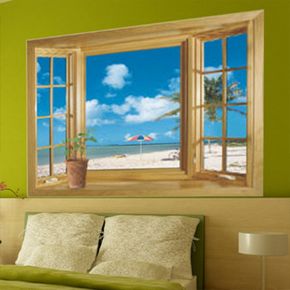 New 3D Window Scenery Sea Beach View wall sticker fake window wall poster decorative wall stickers home decor(China (Mainland))