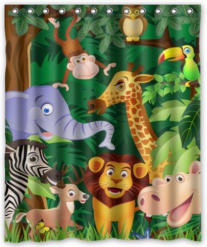 "Cartoon Animals Elephant Horse Deer Waterproof Shower Curtain 60"" x 72"" Free Shipping bathroom decor(China (Mainland))"