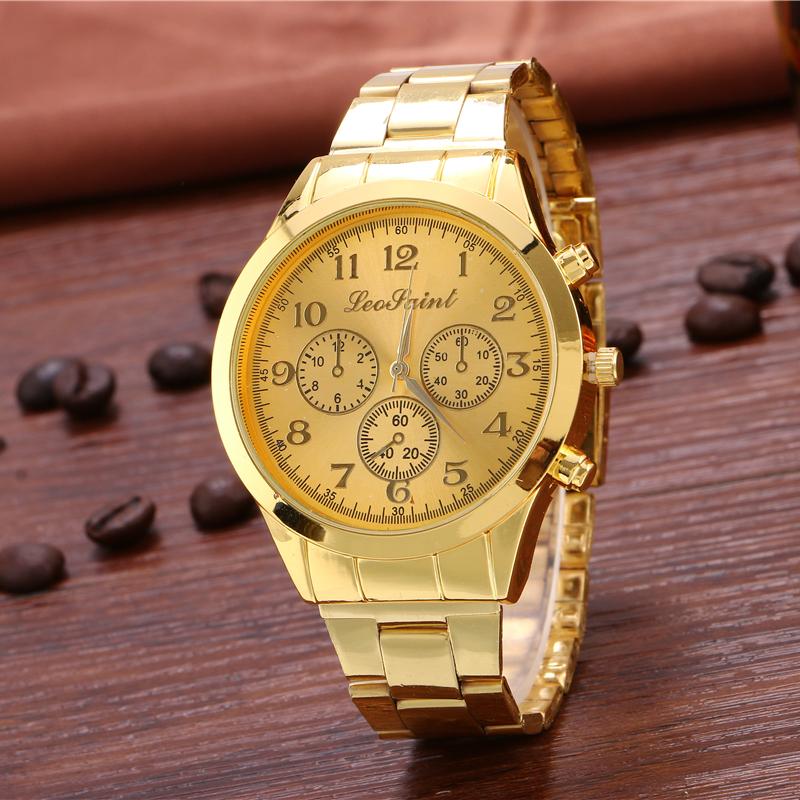 Mens fashion gold quartz watch, ms business electronic watches, high-grade luxury watch brands, Roman numerals golden strap<br><br>Aliexpress