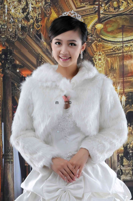 Ladies fashion white faux fur jacket bridal wedding wraps for Winter shawls for wedding dresses