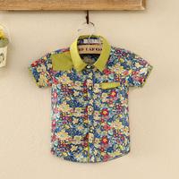 Summer Style Kids Shirt Beach Flower Printed Boys Shirt Fashion Baby Children Clothes Brand Boys Blouse