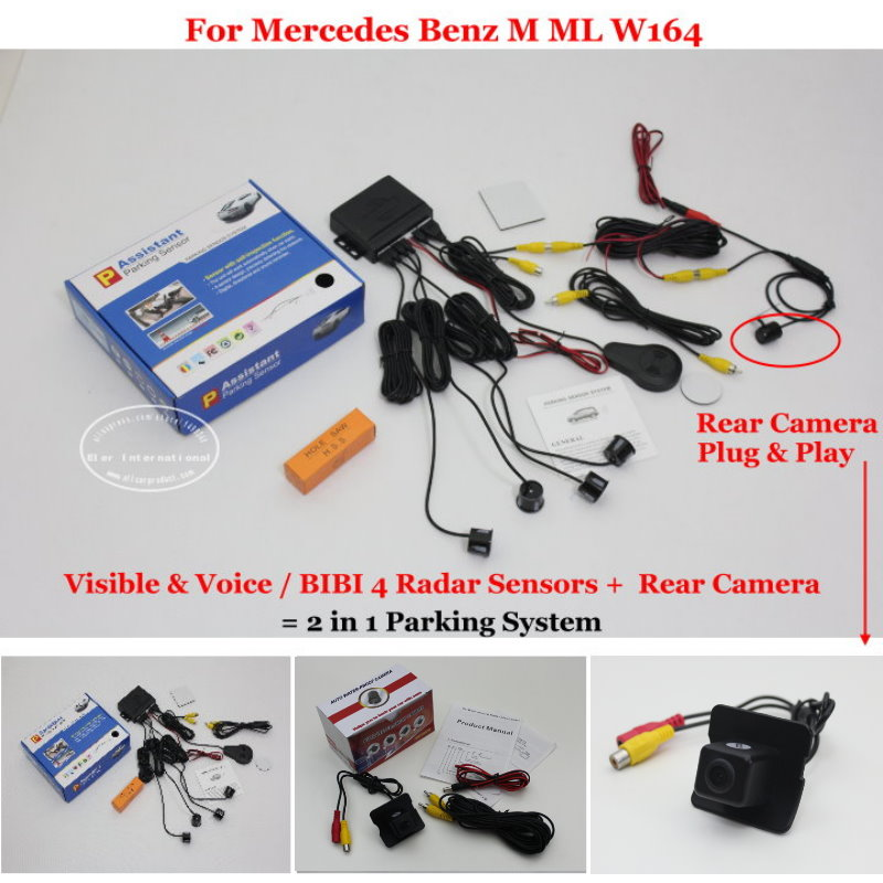 For Mercedes Benz M ML W164 - Car Parking Sensors + Rear View Back Up Camera = 2 in 1 Visual / BIBI Alarm Parking System