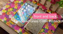 3D Golden Plating Screen Protector For iPhone 5 5s Tempered Glass Color Protector Cover Front+Back Protective Film
