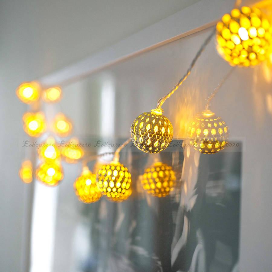 2015 New Luminaria LED Christmas Outdoor Chandelier Luminarias Lighting Decoration Navidad Lamp Golden Iron Ball String Lights - credit200 store