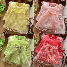 2016 New girls Dresses Baby cotton Dress kids children bow Lace princess dres  4colors free shipping(China (Mainland))