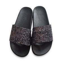 Buy Hot New Summer Designer Women Slippers PU Bling Slides Rivet Flat Non-Slip Soft Bottom Sandals Home Flip Flops Casual Beach Shoe for $10.47 in AliExpress store