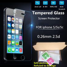Ultra Thin 0.26 mm 2.5D Premium Tempered Glass Screen Protector For iPhone 5 5S 5c HD Toughened Protective Film + Cleaning Kit()