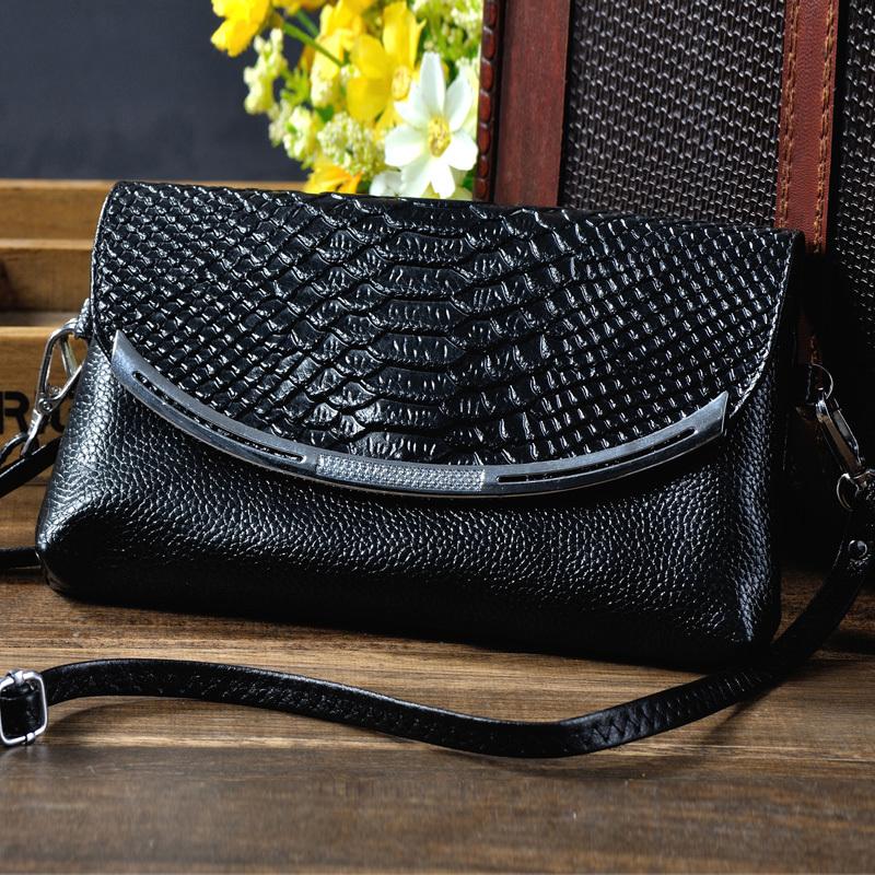 2015 new fashion hot selling genuine leather aligator grain women clutch bag black shoulder bag messenger bag female Wholesale(China (Mainland))