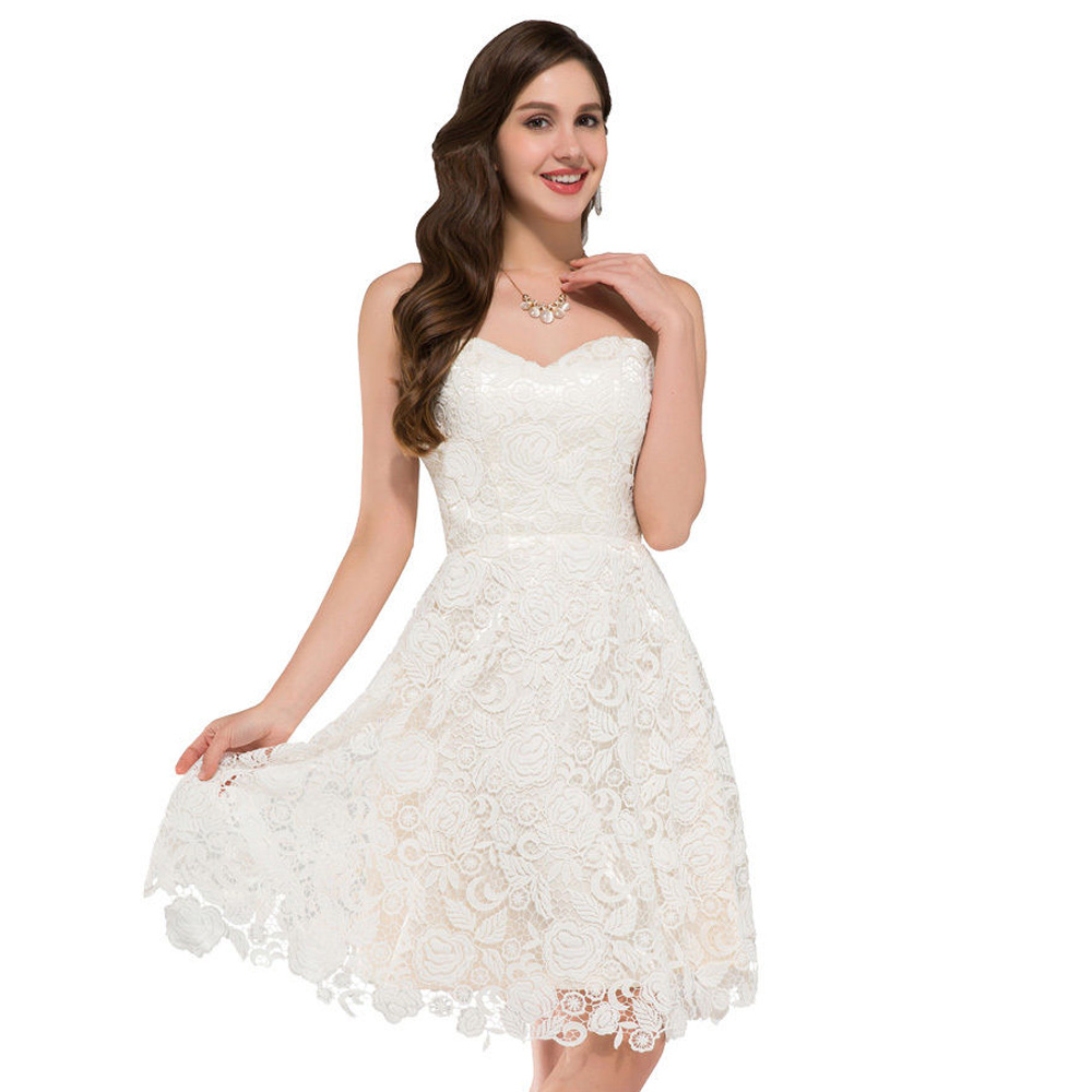 Aliexpress Buy New Fashion Women Sweetheart White Short Prom Dresses 2016 Knee Length Lace