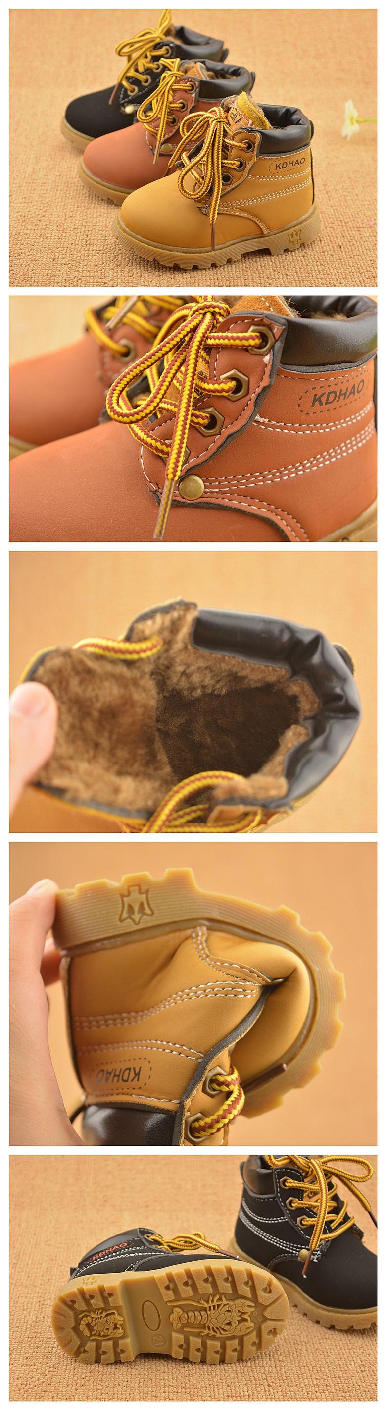 Зима мода ребенок кожаные ботинки снега для девочек мальчики сгустите теплый мартин сапоги обувь свободного покроя плюшевые детей малыш обуви