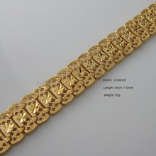 """/Min Order is 10$ Can mix design /20G 7.5"""" 16MM 0.63"""" WIDTH - YELLOW GOLD GP OVERLAY FILLED BRASS HEART PATTERN LINK BRACELET(China (Mainland))"""