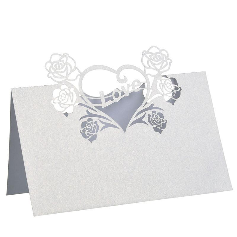 product 5 * 5.8 inch 12 PC putih potong laser Cinta hati kartu tempat / Kartu escort / Tabel kartu / Kursi kartu Kertas pernikahan nikmat dekorasi