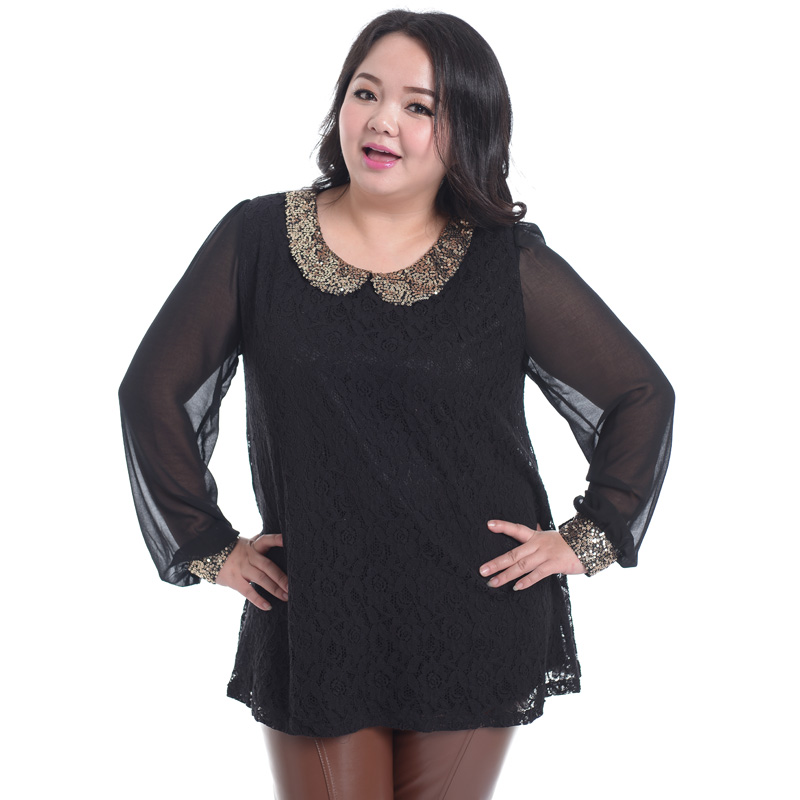 2014 spring new arrival plus size clothing lace one-piece dress paillette chiffon shirt mm 4xl one-piece dress(China (Mainland))