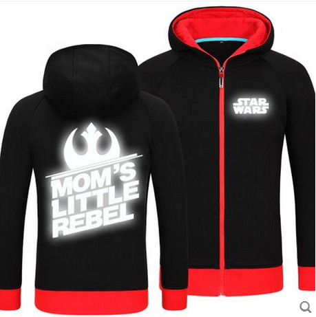 High Quality STAR WARS Glow in the Dark Zip Up Hoodies Jackets Coats Fleece Youngsters Fashion