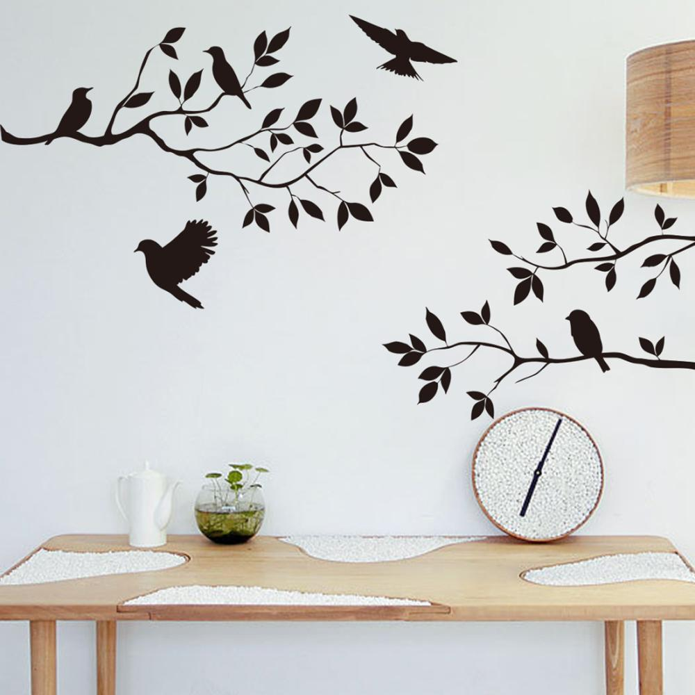 Wall decals birds branch stickers products butterflies for Black wall mural