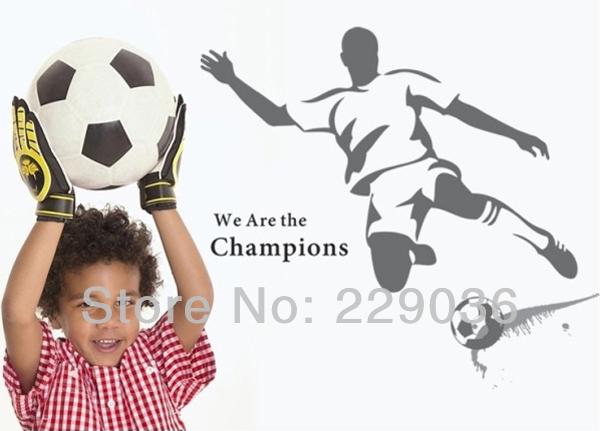 1PCS Free Shipping Big Popular We Are the Champions Footballer's Wall Stickers Art Decals Lounge Kids Bed Room Decor 90*60CM()