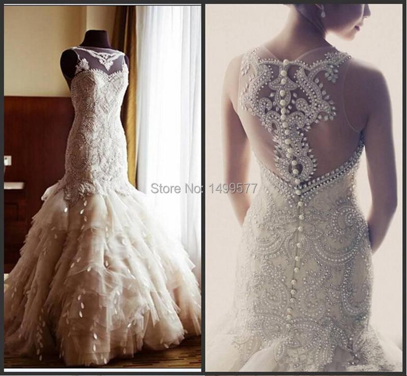 2015 New Luxury Stunning Mermaid High Neck Illusion Vintage Crystal Wedding Dresses White Ivory Bridal Gown For Wedding(China (Mainland))
