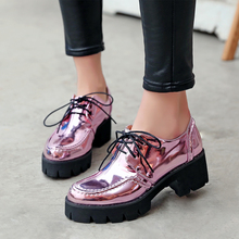 2016New Arrival Leisure Women Round Toe Saquare Med Heel Pumps Lace UP Causal Loafer Fashion Ladies Brogue Shoes Wingtip Popular