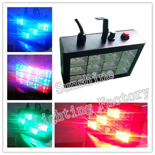 Hot selling, New Cheap 12W colorful effect Light Stage Lighting Auto Sound active LED RGB DJ Club Disco Party Lampfair(China (Mainland))