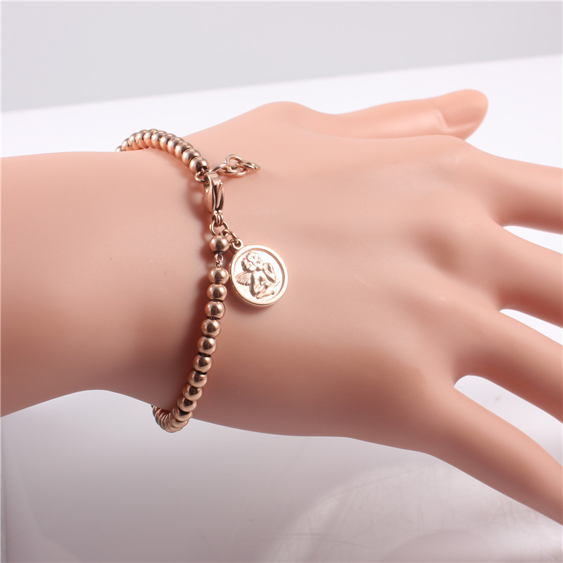 Fashion 14K Rose Gold Plated Stainless Steel Handmade Beaded Charm Bracelets Women Cute Simple Jewelry Pulseras Chirstmas Gifts(China (Mainland))