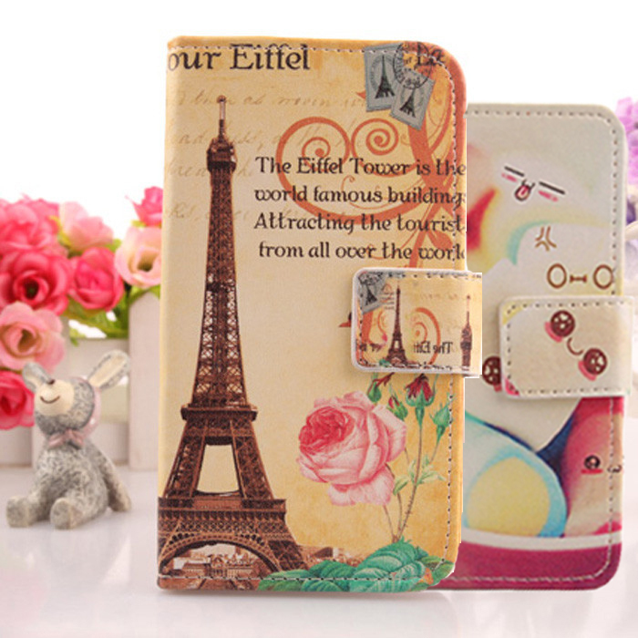 Soft case PU Leather skin Cell phone bag Card holder Full Protection Flip case Cartoon painting cover For Huawei G Play Mini(China (Mainland))