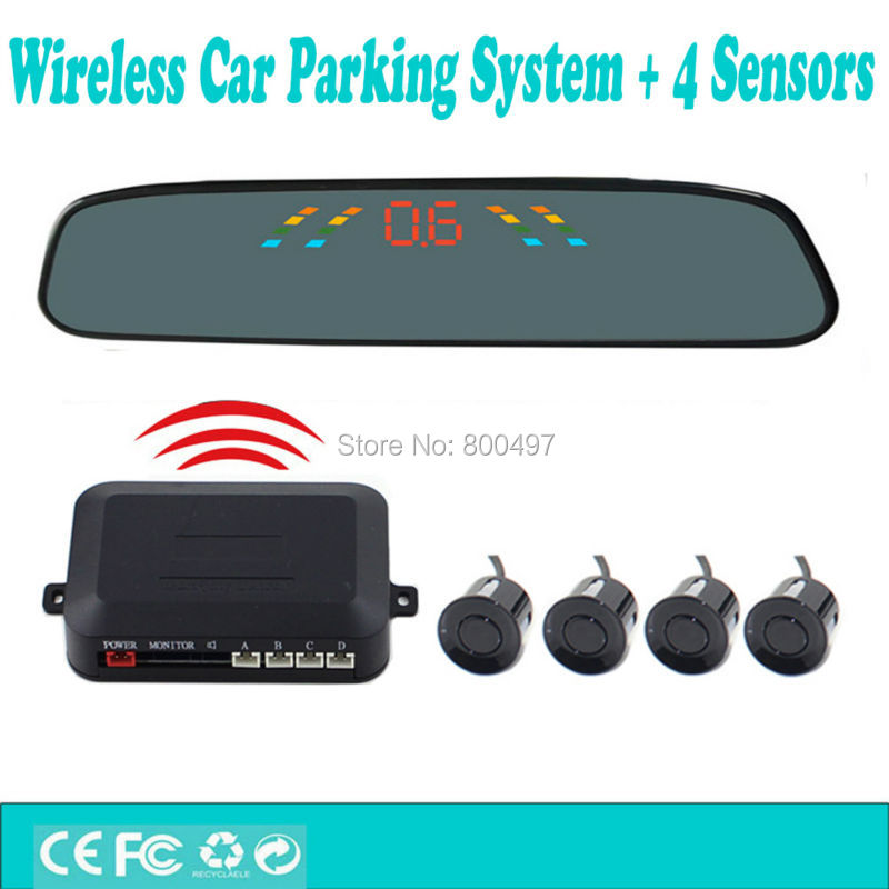 Wireless Car Parking Assistance System with 4 Parking Sensors Rearview Mirror Display Auto Backup Reverse Radar System Alarm Kit(China (Mainland))