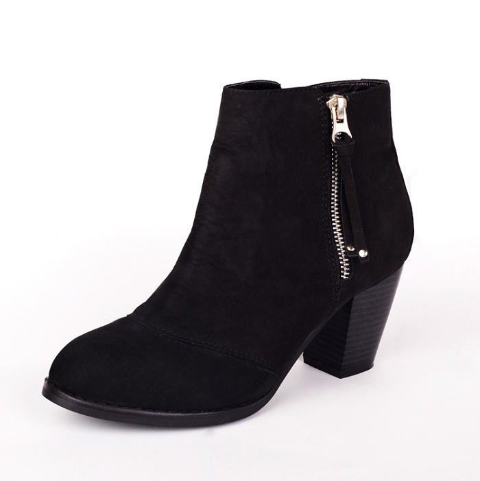 Fashion Womens MIGHTY Black Leather Zip Ankle Booties Side Zipper Mid Heel Round Toe nubuck leather Martin boots ladies shoes - SHOELIVE-Live for Shoes store