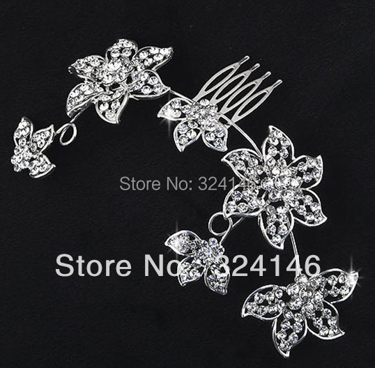Beautiful Floral Wedding Tiara Sparkling Silver Plated Austrian Crystal Bridal Hair Combs Hairpin Jewelry Hair Accessories