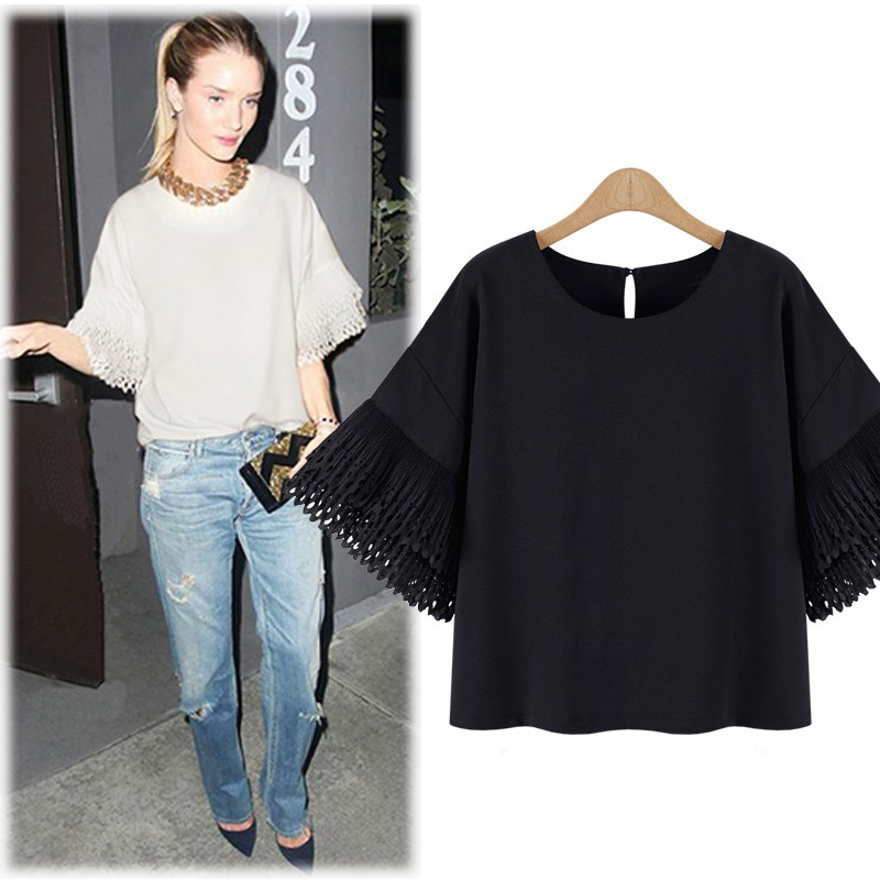 Large Size XL-5XL Women Summer 2016 New Loose Solid Color Fashion T Shirt Women Chiffon Brand Clothing Short Tops 39138(China (Mainland))