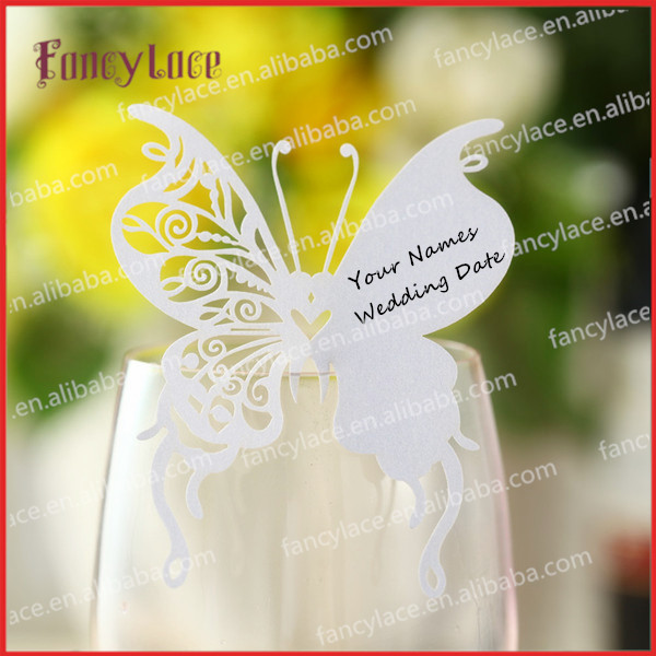 100pcs wedding place cards for wine glass butterfly for Decoration table pour invites