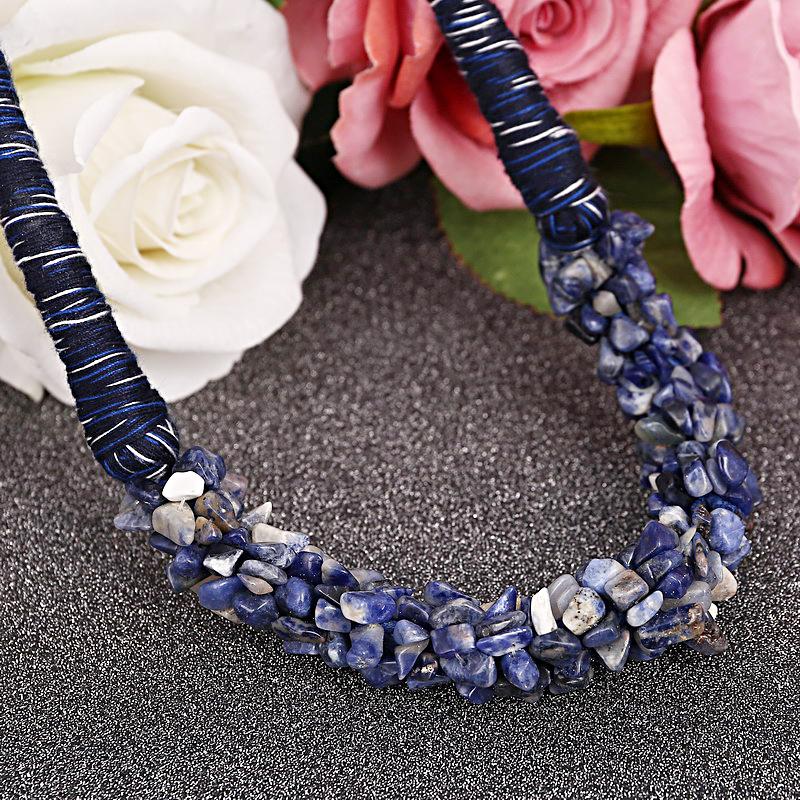 Изящные Колье Ожерелье Синий Натуральный Камень Мода Дизайн Ожерелье Веревочки Для Женщин Нежный ручной Цепи Neckalce