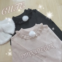 2016 cute lolita sweet korean rabbit stuffed ball flounced small high collar pink sweater basic universal primer knitting(China (Mainland))