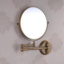 Free Shipping Antique Brass 8 Inch Double Side Bathroom Folding Shave Makeup Mirror Wall Mounted with Arm 1x3 Magnifying 1308F(China (Mainland))