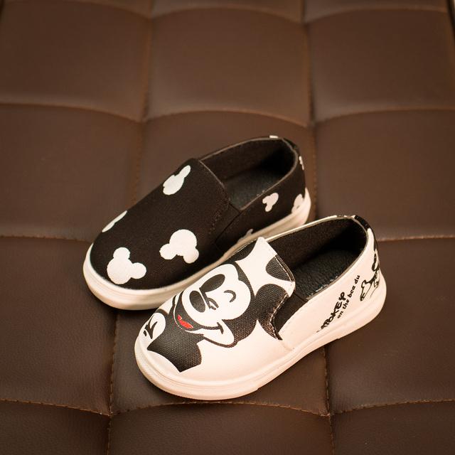 2016 весна осень дети для девочек холст обувь мальчики мультфильм минни KT Cat обувь свободного покроя кроссовки розовый черный 21 - 36