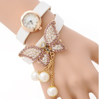 Romantic Set Auger Butterfly Rivet Pearl Bracelet Quartz Watch Women Dress Watch Women Wristwatch relogios femininos W1768