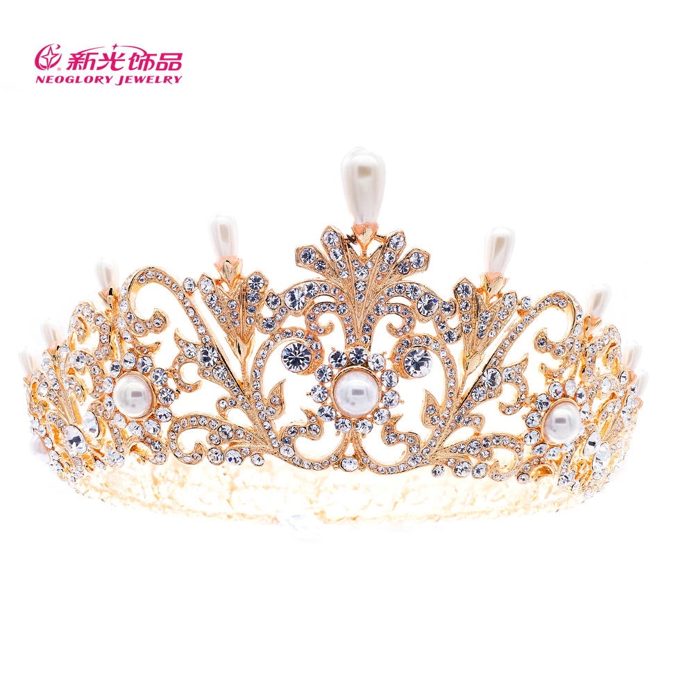 2015 Luxury Gold Tiaras and Crowns Bridal Austrian Crystal Flower Pearl Crown Tiara For Women Wedding Prom Pageant Brand SHA8646(China (Mainland))