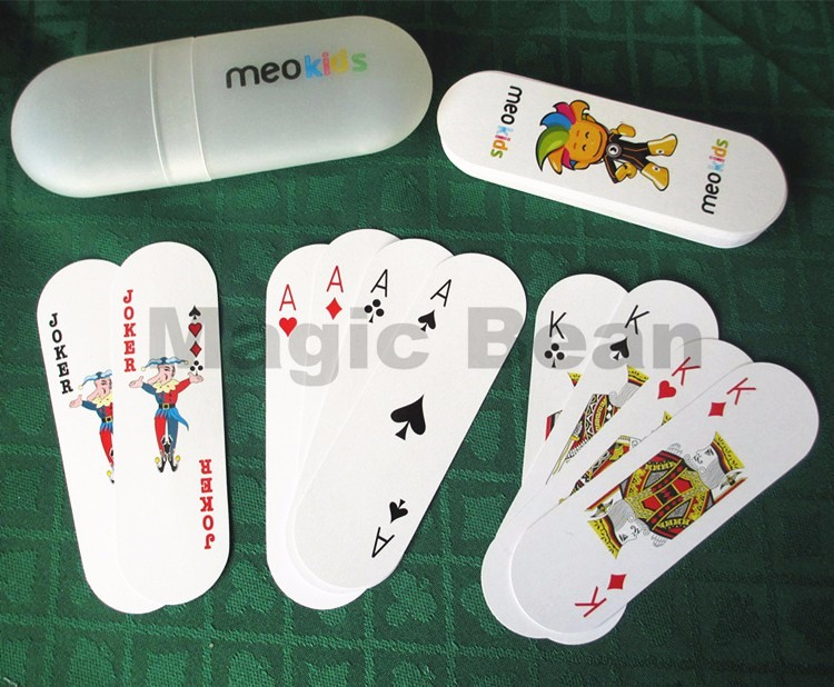 1 Set Playing Cards Poker with Plastic Container Wholesale High Quality Oval Shaped Women Kids 54 Cards Fashion Board Game Poker(China (Mainland))