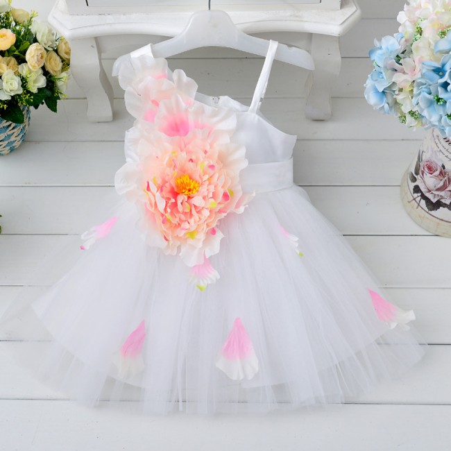 EMS DHL Free shipping 2015 Girls Princess Clothing single shoulder Big Flower Festival Dress<br><br>Aliexpress