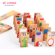 28pcs/set Animal Colored Dominoes Wooden Puzzle Cartoon Montessori Educational Baby Toys Cute Birthday Gifts Funny Kids Games(China (Mainland))